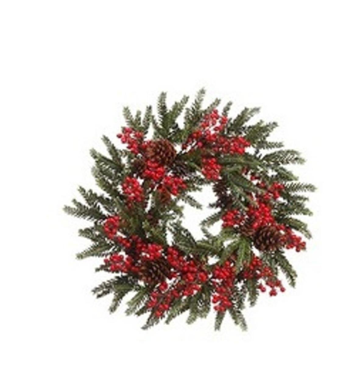 22'' Red Berry and Pine Cone Artificial Christmas Wreath - Unlit