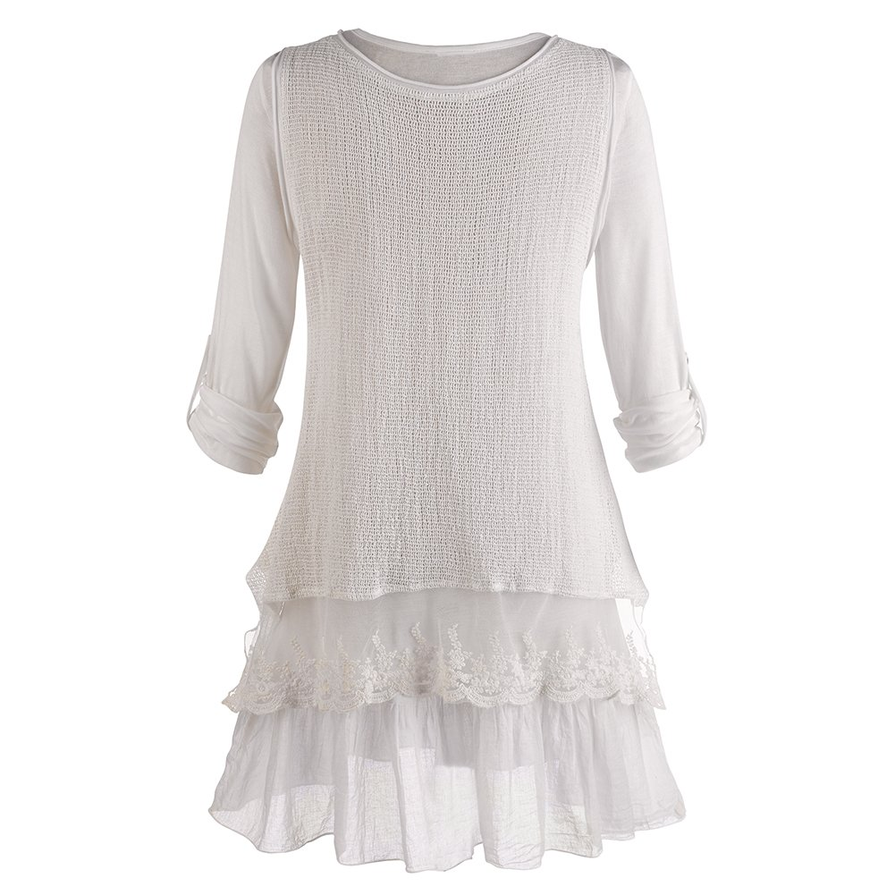 Womens Tunic Top Roll Tab Sleeve Blouse and Gauzy White Tank Set