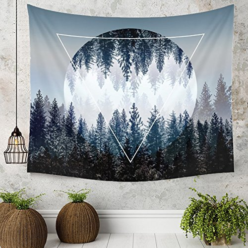 Tapestry Wall Tapestry Wall Hanging Tapestries Sunset Forest Tapestry Ocean and Mountains Wall Hanging Tapestry with Romantic Pictures Art Nature Home Decorations Dorm Decor Tapestries 59 x 51 Inches by BLEUM CADE (Image #2)