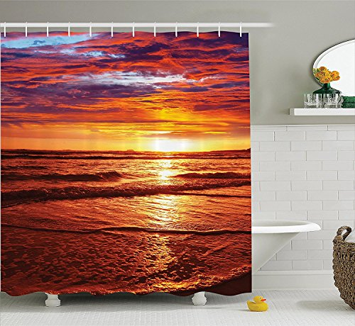 [Hawaiian Decorations Shower Curtain Set Dramatic Picture of Sunset Over Beach SunlightsReflection on Sea Evening View Bathroom Accessories Yellow] (Vintage Pin Up Girl Costume Ideas)