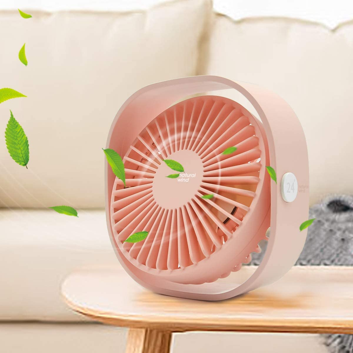 Mini USB Desk Fan, 3 Speed Personal Small Desktop Table Quiet USB Fan for Home Office Car Outdoor Travel (Pink)