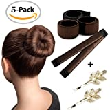 Hair Bung Shapers,3 Pack French Hair Styling Bung Maker with 2 Retro Hair Pin Clips DIY Doughnuts Hair Bun Tool