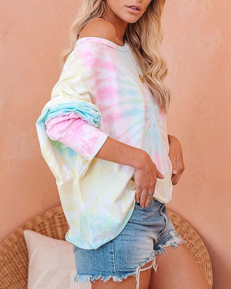 Fessceruna Womens Tie Dye Blouse Long Sleeve Off Shoulder T Shirt Casual Loose Pajama Batwing Tee Loungewear Sleepwear