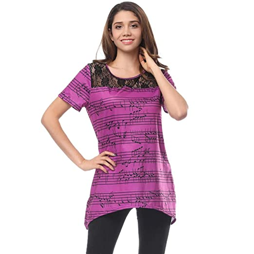 AOJIAN Women Off The Shoulder Short Sleeve Musical Notation Lace Stitching Top T-shirt (