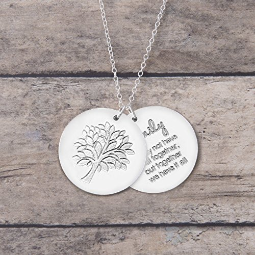 Family Tree Necklace, Silver Family Tree Jewelry - Two 7/8