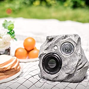 Waterproof Bluetooth Rock Speaker - Solar - Powered Outdoor Wireless Speaker Play Two Together, for Garden, Party, Backyard, Gray