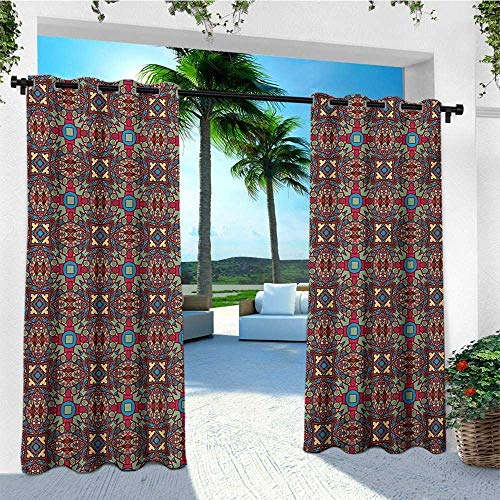 Vintage, Outdoor Curtain Ends, Retro Coloful Image with Floral Like Geometrical Details Kaleidoscope Seem Artwork, for Patio W96 x L108 Inch Multicolor