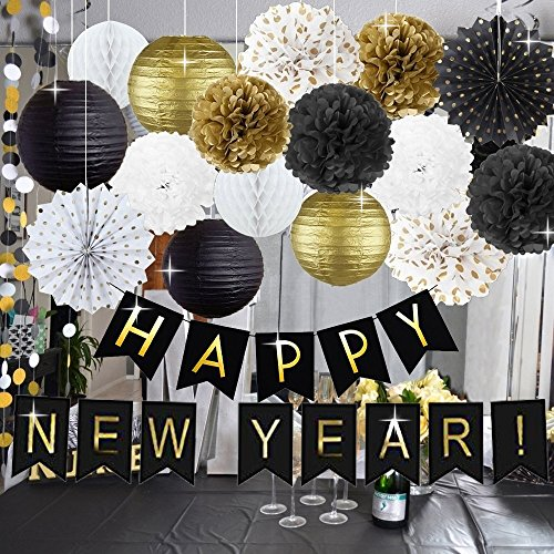 Kubert Happy New Year Decorations Happy New Year Banner Chinese Paper Lanterns Tissue Paper Flowers Pom Poms Hanging Paper Fans New Years Eve Party Decorations (Chinese New Year Banner)