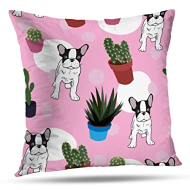 ONELZ Dachshund Cactus Cute Dog Square Decorative Throw Pillow Case, Fashion Style Zippered Cushion Pillow Cover (16X16 inch)