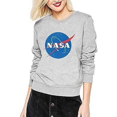 WTUS Mujer Cuello Redondo Manga Larga Sudaderas NASA Logo Tops Moda Casual Sudadera: Amazon.es: Ropa y accesorios