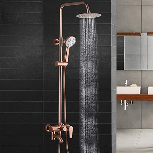 Space Aluminum Gold Shower Set Lifting Pressurized Constant Temperature Multi-Function Wall-Mounted Shower Rose Gold.