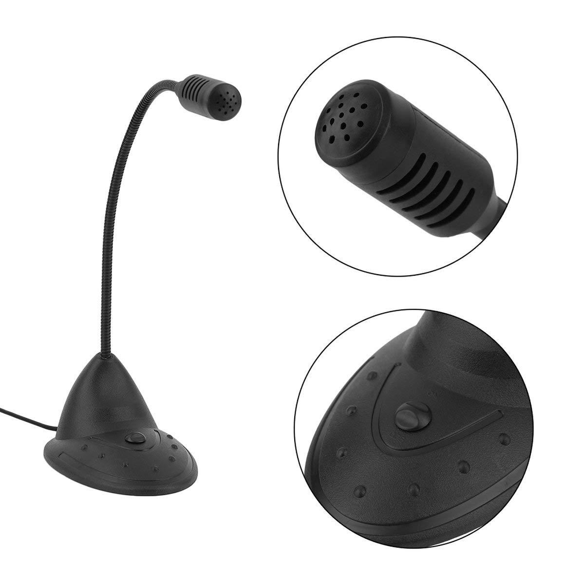 Funnyrunstore Desktop Microphone CD-2000 Small Practical Notebook Computer Microphone Studio Speech Mic Stand Holder For Pc Black