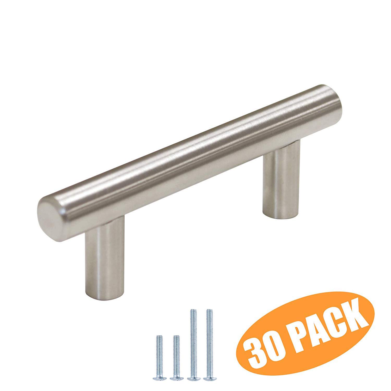"(30 Pack) Probrico 2-1/2"" Hole Centers Modern Euro T Bar Cabinet Pulls Stainless Steel Satin Nickel Kitchen Cabinet Handles Furniture Drawer Dresser Cabinet Hardware"
