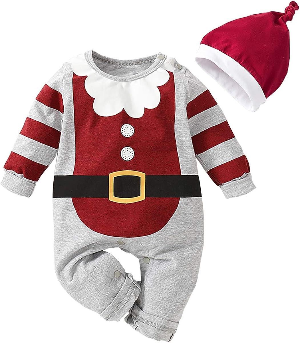 Newborn Baby Boys Bodysuit Short-Sleeve Onesie Santa Play with Snowman Print Jumpsuit Winter Pajamas