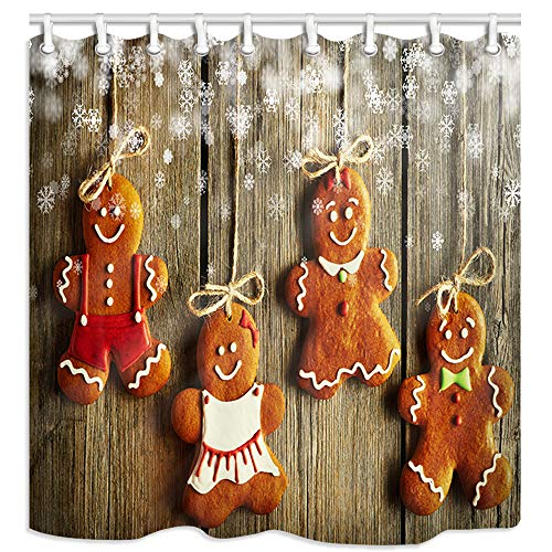 KOTOM Christmas Shower Curtain, Christmas Homemade Gingerbread Couple Cookies Over Wooden Background, Polyester Fabric Bath Curtains with Hooks 69W X 70L Inches