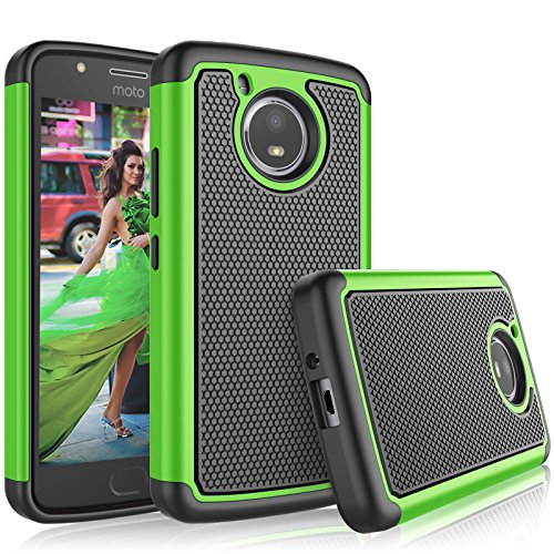 Green Plastic Case - Moto E4 Case, 2017 Motorola Moto E 4th Generation Case For Girls, Tekcoo [Tmajor] Shock Absorbing [Green] Rubber Silicone & Plastic Scratch Resistant Bumper Grip Rugged Hard Cases Cover