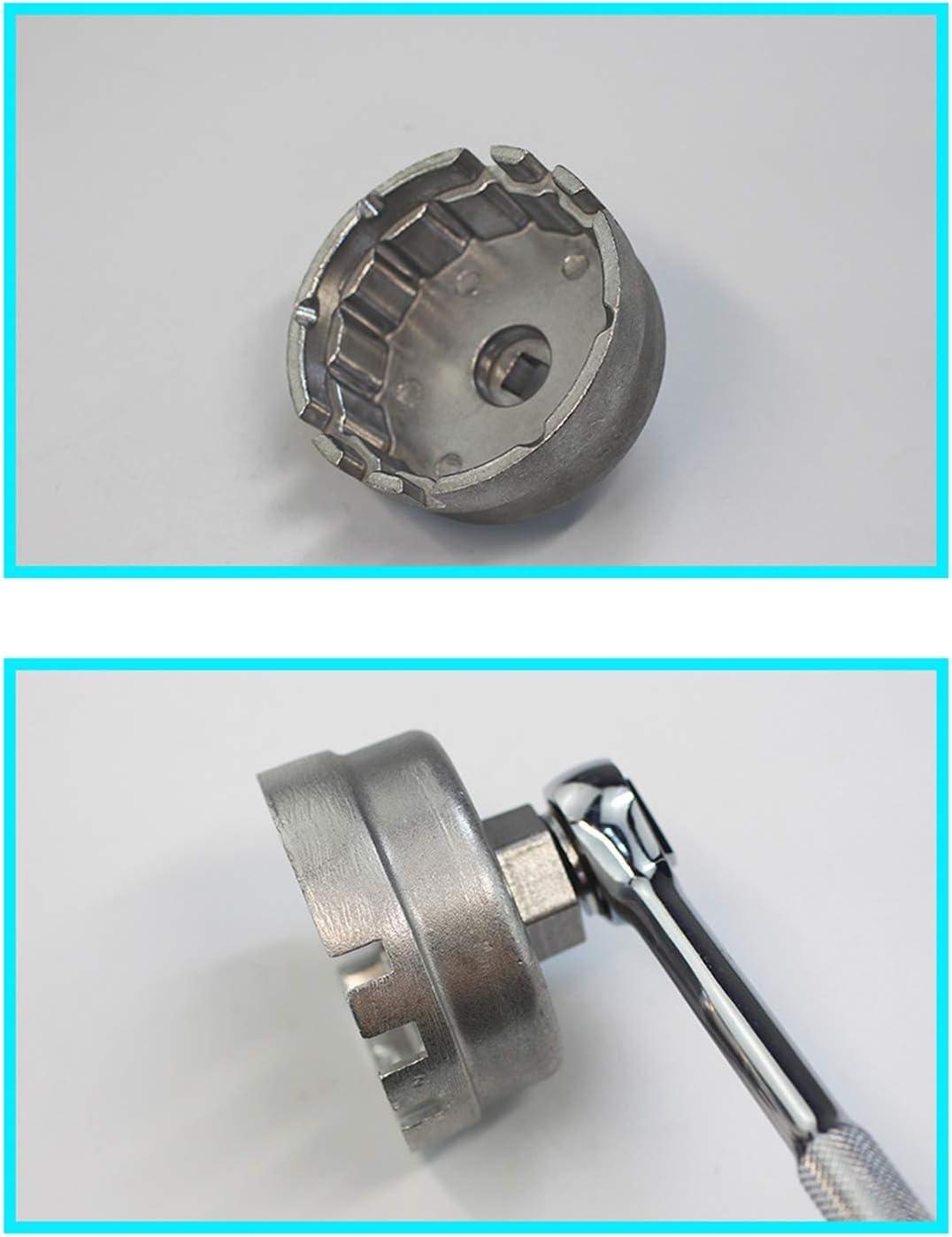 Aluminum Alloy Oil Filter Wrench Cap Housing Tool Remover 64.5mm 14 Flutes 6 Openings for Toyota Prius Corolla Rav4 Auris