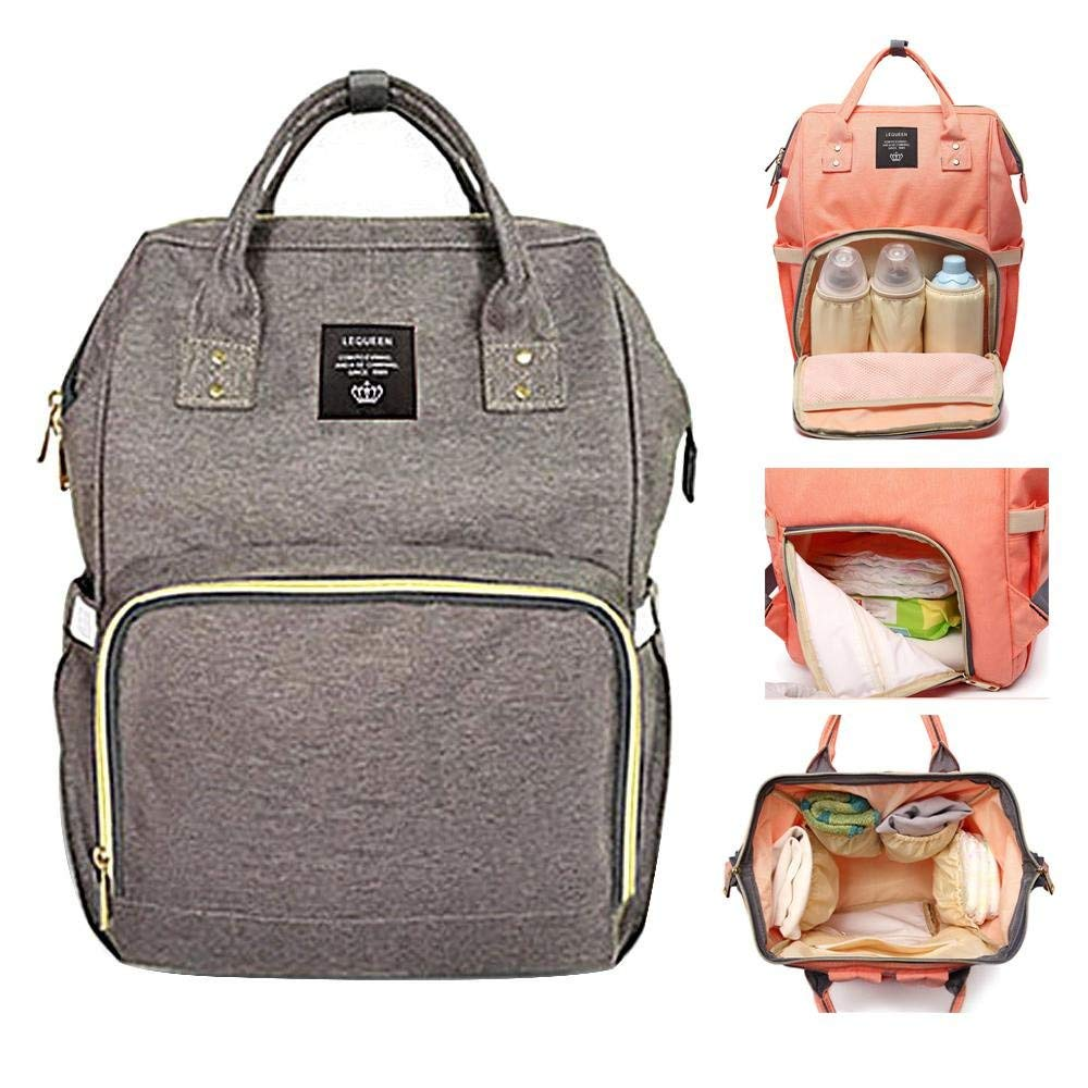 Dark Gray Large Capacity Waterproof Stylish Nappy Changing Bags Canvas Mummy Handbag Multi Eulan Diaper Bag Backpack Multi-Function Baby Nappy Tote Bags Travel Backpack for Baby Care