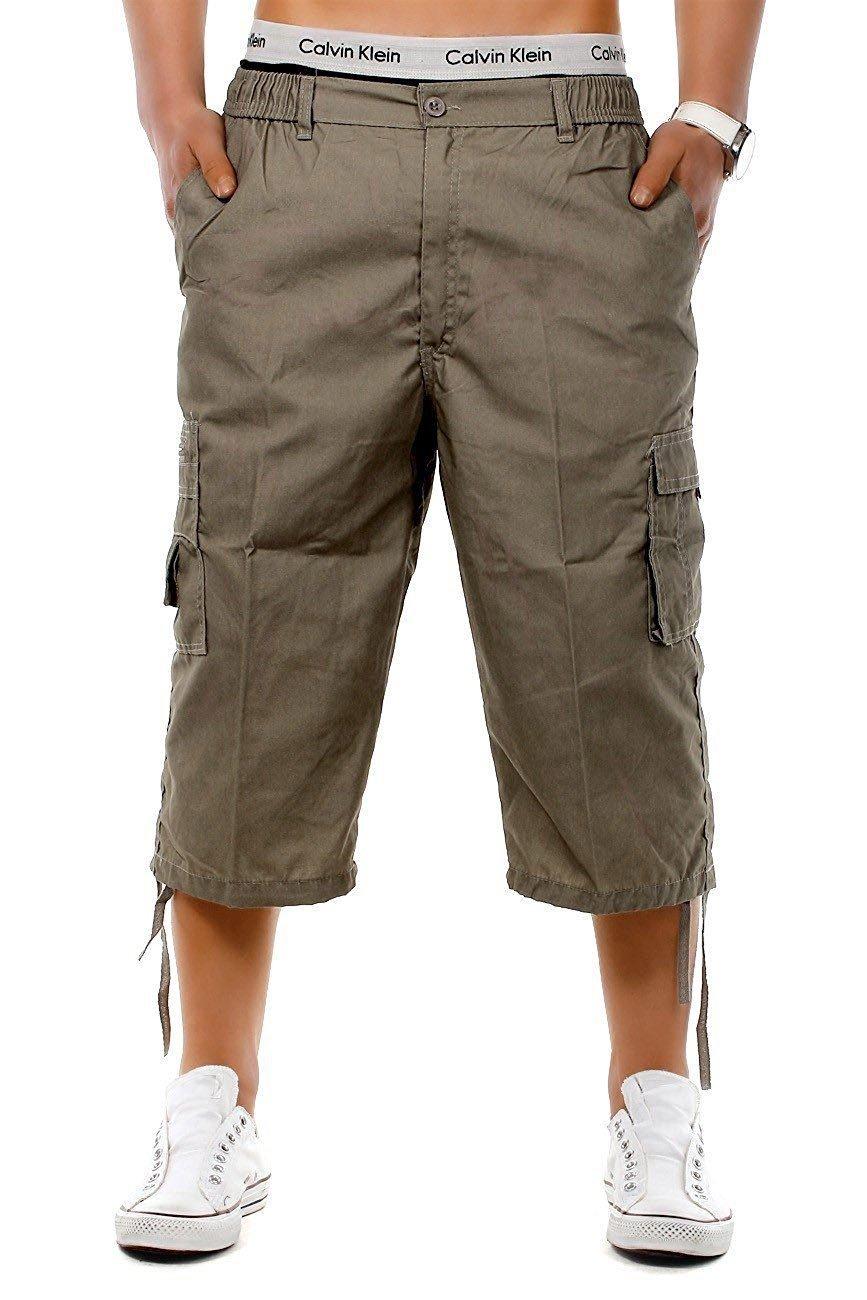 Mens Combat 6 Pocket Knee Length Cargo Waist Pockets Zip Up Summer Plain Shorts