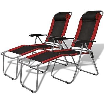 Tuduo Silla reclinable de Camping 2 Piezas Rojo y Negro ...