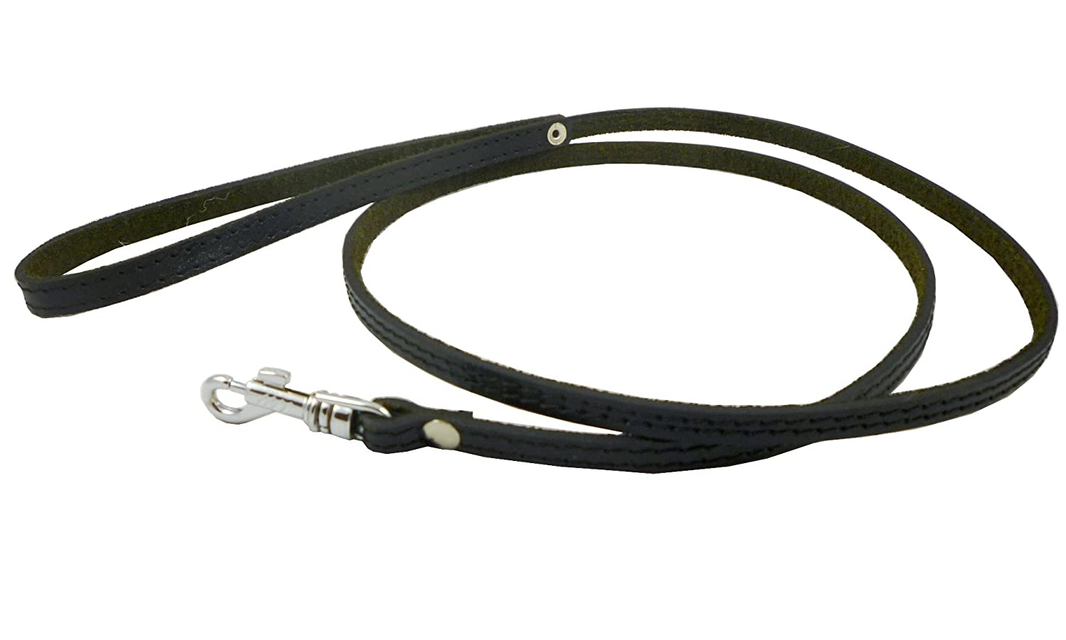 """4' Genuine Leather Classic Dog Leash Black 3/8"""" Wide For Small Breeds and Puppies"""