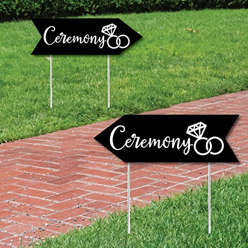 Black Wedding Ceremony Signs - Wedding Sign Arrow - Double Sided Directional Yard Signs - Set of 2 Ceremony Signs]()