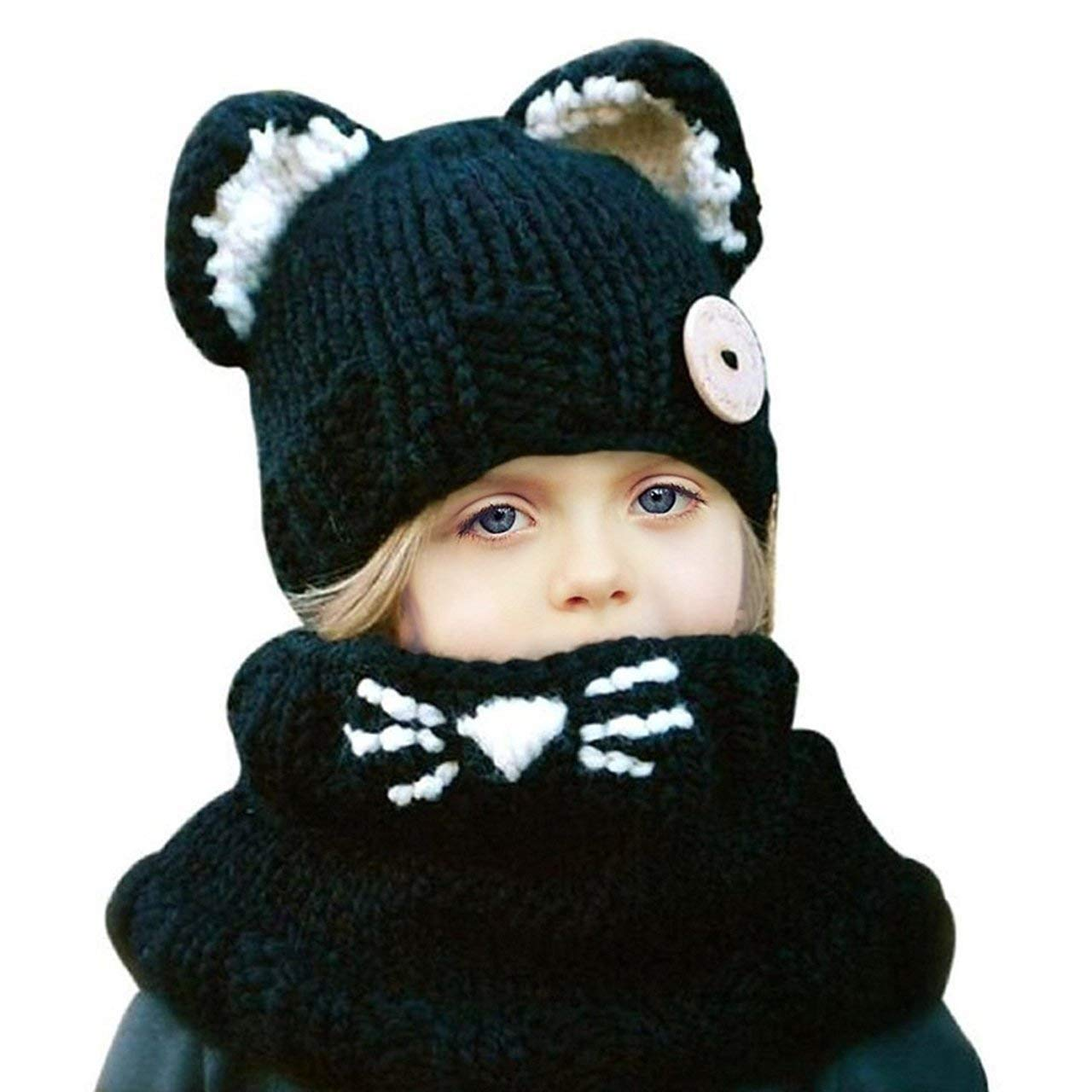 Baby Kids Warm Winter Hat Crochet Knitted Caps Scarves Cute Beanies Ear Warmers Cartoon Fox Rabbit Bear Wolf Cloak Woolen Cap Coat Set Honeststar HS-Childhulimao-Black
