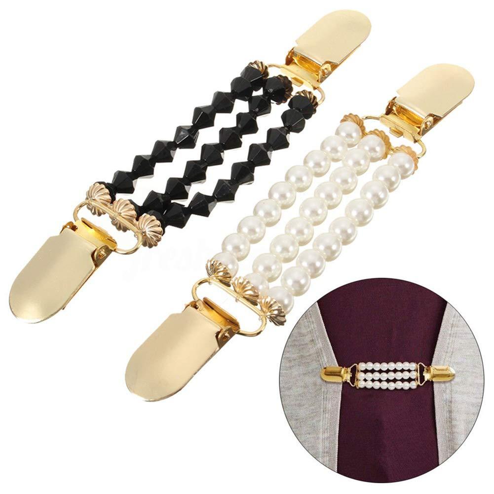 Danigrefinb Fashion 3/Strati di Perle finte Cardigan Clip Catena per Donne Senza Bottoni Maglione Morsetto Decor