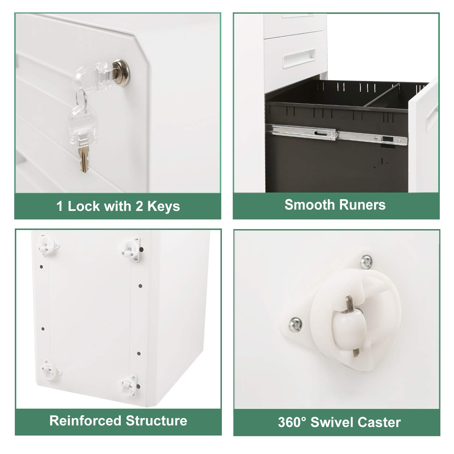 M&W 3 Drawer Mobile File Cabinet, Metal Locking Letter Filing Cabinet by M/W M & W (Image #5)
