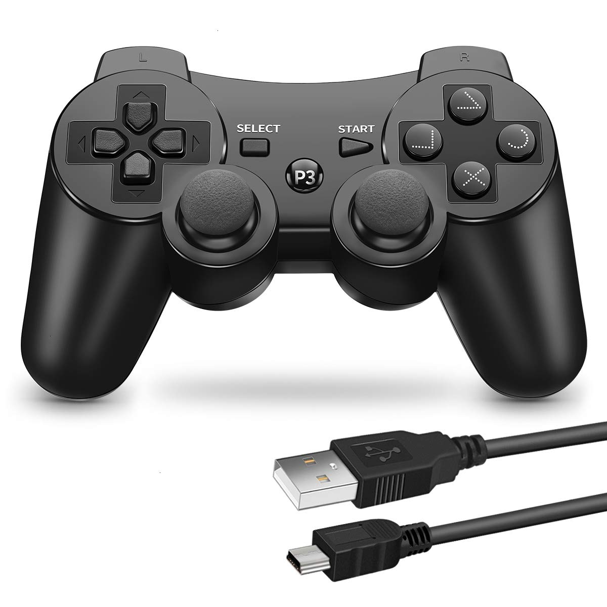 VOYEE PS3 Controller Wireless - Rechargable Remote Control/Gamepad with Charger Cable Compatible with Playstation 3 (Black)