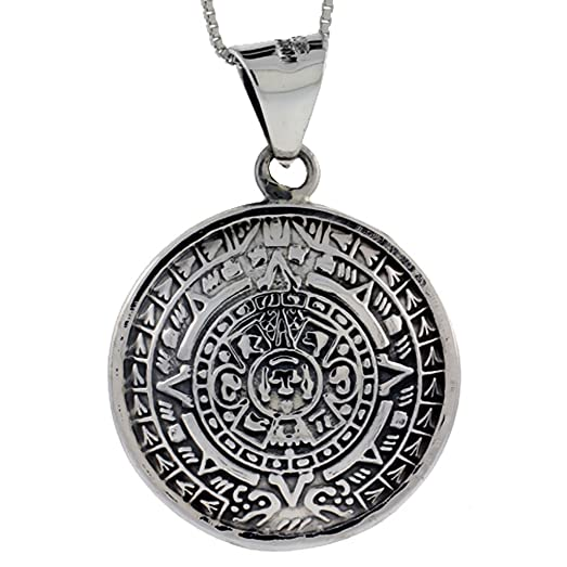 Sterling silver double sided aztec calendar pendant handmade 1 14 sterling silver double sided aztec calendar pendant handmade 1 14 inch 30 aloadofball Image collections