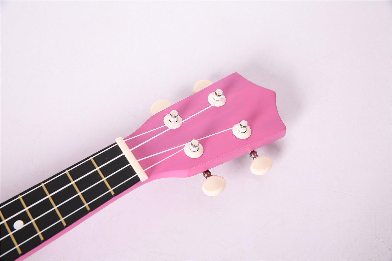 uarashi Soprano rosa madera ukelele Nylon Cuerdas Guitarra principiantes Kit 21