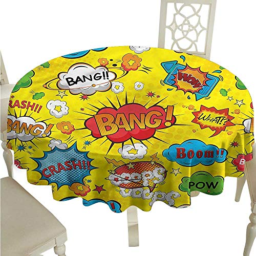 ScottDecor Table Cover Superhero,Funky Oops Wow Phrases Wrinkle Free Tablecloths Round Tablecloth D -