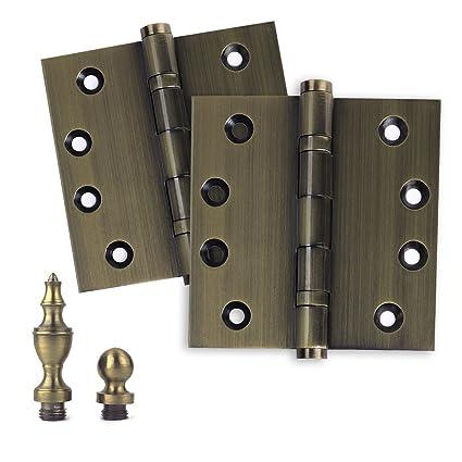 """2 Door Hinges 4"""" x 4"""" Extruded Solid Brass Ball Bearing Hinge  Heavy Duty - 2 Door Hinges 4"""