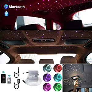 AKEPO Upgraded APP 10W Twinkle Fiber Optic Lights kit with Music Mode for Star Ceiling Sky Light Car Home Use, RGBW Light Engine+Optical Fiber Cable 430pcs of 9.8ft/3m(0.03+0.04+0.06in)+28key Remote