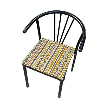 "Bardic HNTGHX Outdoor/Indoor Chair Cushion Ethnic Tribal Geometric Square Memory Foam Seat Pads Cushion for Patio Dining, 16"" x 16"": Home & Kitchen"