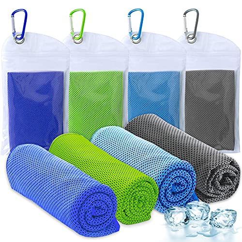 Amgico Cooling Towel (40″x12″), Instant Cooling Relief Ice Towel Microfiber Towels for Sports Gym Fitness Hiking Yoga Jogging Running & Outdoor Activities 4 Packs