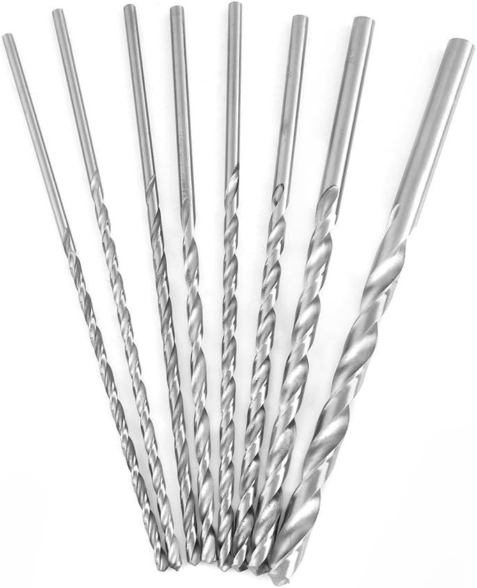 8pcs 4//4.2//4.5//5//5.2//6//8//10mm High Hardness Extra Long High-rate Steel Straight Shank Twirl Drill Bit Tool for Wood Aluminum Plastics HSS Twirl Drill Bit
