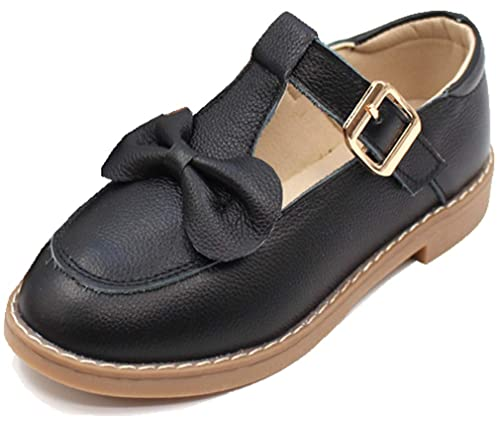VECJUNIA Girl s Mary Jane Flats T-Strap Bows Outdoor Dress School Uniforms  Shoes (Black