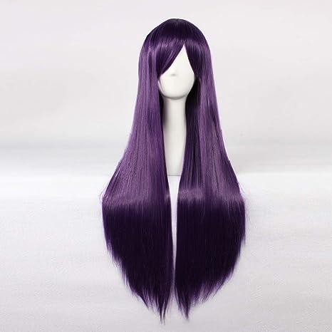 HOOLAZA Púrpura Peluca recta extra larga Eva Katsuragi Misato Paladín chino 4 Paladín chino 5 Sunako