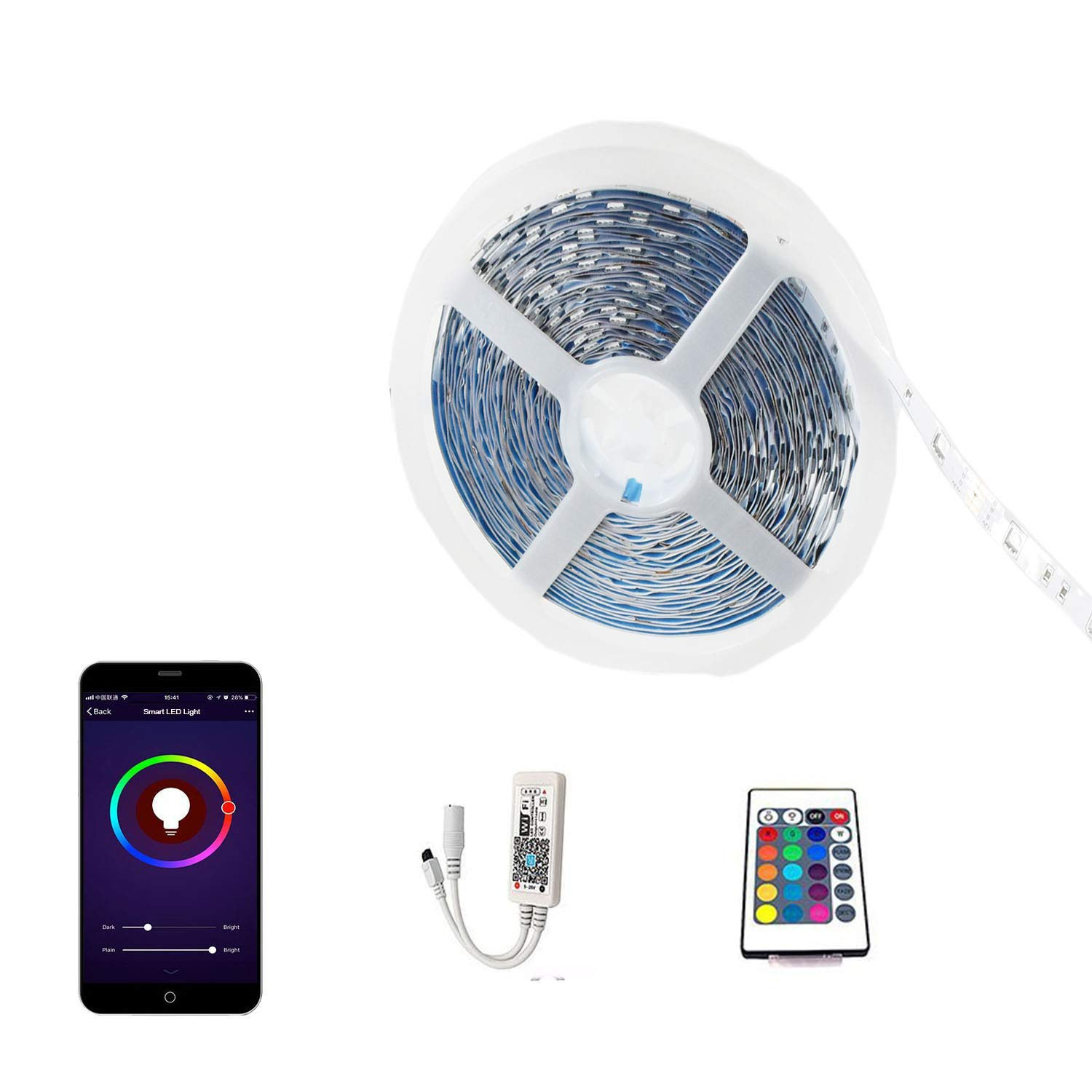 Wifi Light Strip Works with Google Home Alexa,Smart Wireless RGB Led Light strip Smart Phone Controlled with Remote Controller Full Kit(33FT/REEL)