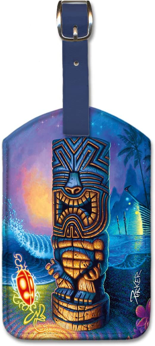 Exotic Traveler by Parker Pacifica Island Art Leatherette Luggage Baggage Tag