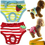 Adorable Reusable Washable Strawberry Dog Pet Diapers Cover Up Sanitary Panties for Small Medium Female Girl Dogs Puppy in Spring Summer Autumn (Waistline: 7.8-11 inch)