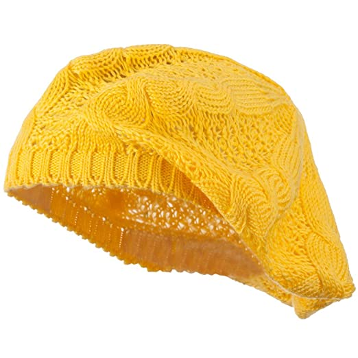 Big Cable Knitted Beret Yellow Osfm At Amazon Womens Clothing Store