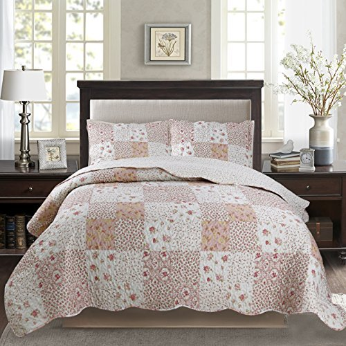 - KASENTEX Country-Chic Printed Pre-Washed Set. Microfiber Fabric Design. Queen Quilt + 2 Shams. Multi-Pink, 90X90+20X26 X2