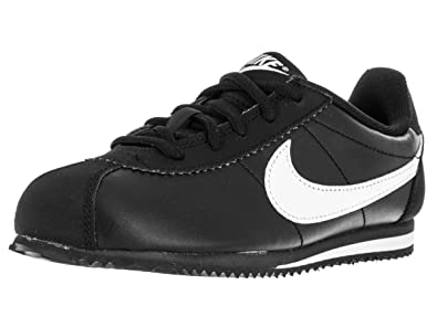new style aceff 4fa23 Nike Kids Cortez (PS) Black White Running Shoe, 3 M US Little