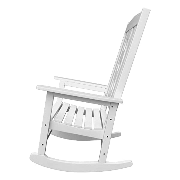 PolyTEAK Curved Outdoor Rocking Chair, White – Looks Like Real Wood – All Weather Waterproof Material – Durable, Stylish, Comfortable – Feels Like Teak – Porch and Patio Rocker Chair