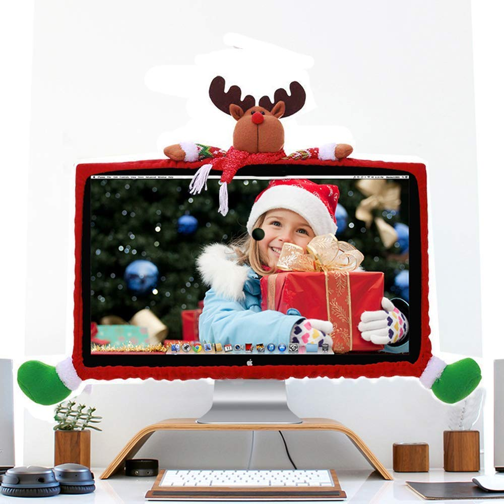 XGuangage Christmas Computer Monitor Cover, Xmas Decorations Elk Computer Monitor Border Cover, Elastic Laptop Computer Cover for Home Office Decor xiangguang