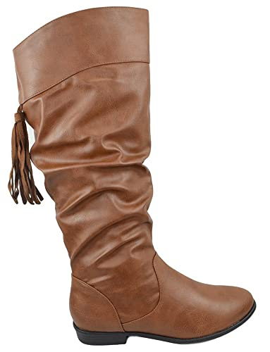 e3e9c2fe2f10 SODA Women Flat Slouchy Basic Knee High Boots Side Zipper Fringe Lace Faux  Leather Wales Cognac
