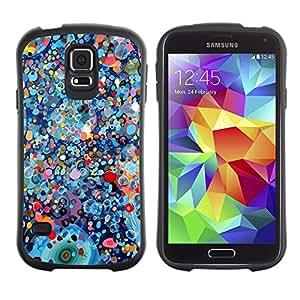 Paccase / Suave TPU GEL Caso Carcasa de Protección Funda para - Psychedelic Blue Painting Pollock - Samsung Galaxy S5 SM-G900